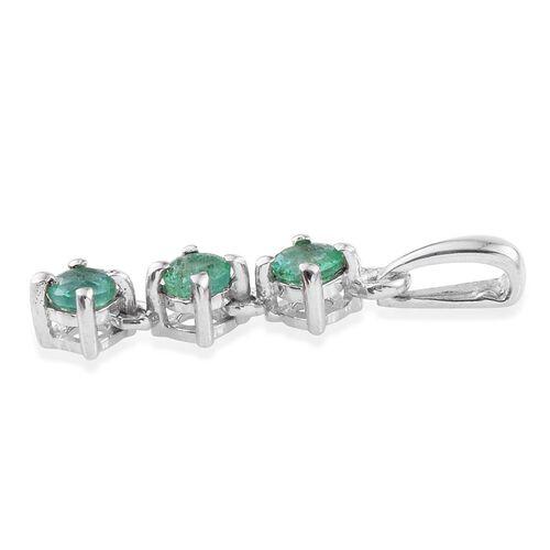Zambian Emerald 0.50 Ct Trilogy Pendant in Platinum Overlay