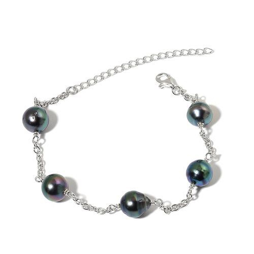 Tahitian Pearl Station Bracelet (Size 7.5 with 2 inch Extender) in Platinum Overlay Sterling Silver