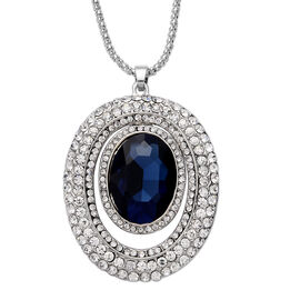 Simulated Blue Sapphire and White Austrian Crystal Pendant with Chain (Size 28 with Extender) in Silver Tone