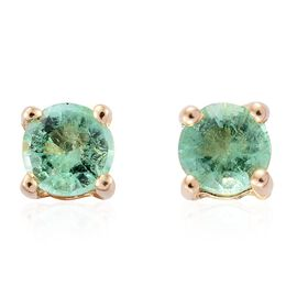 9K Yellow Gold Boyaca Colombian Emerald Round Solitaire Stud Earrings (with Push Back).