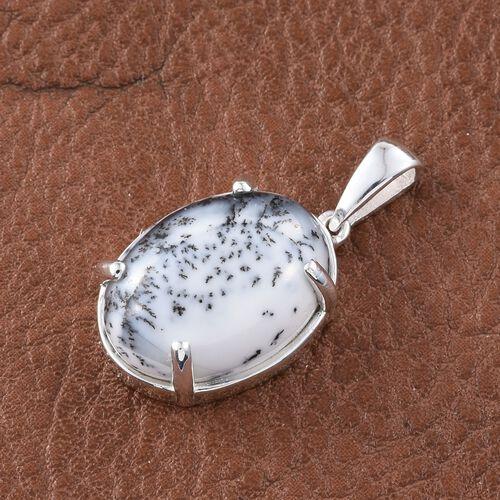Rare Size Natural Dendritic Agate (Ovl) Pendant in Sterling Silver 11.500  Ct.