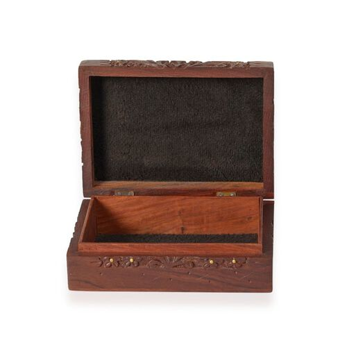 Brass Inlay Indian Rosewood Floral Carved Square Shape Jewellery Box with Black Velvet Inside (Size 17x12x5 Cm)