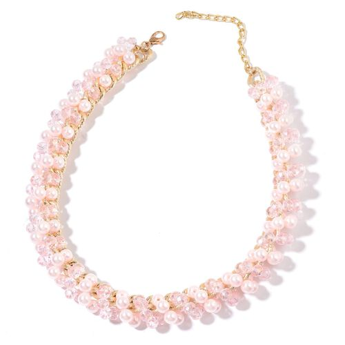 Simulated Pink Sapphire and Simulated White Stone Necklace (Size 18 with 3 inch Extender) in Gold Tone