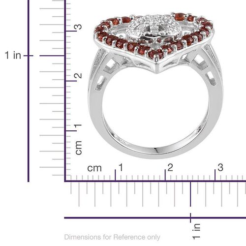 Red Sapphire (Rnd), Diamond Heart Ring in Platinum Overlay Sterling Silver 0.930 Ct.