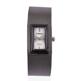 STRADA Japanese Movement Sunshine Pattern Dial Water Resistant Watch in Black Tone with Stainless Steel Back