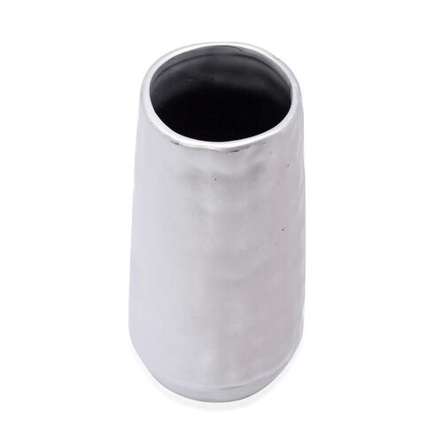(Option 2) Silver Colour Stoneware Ceramic Handcrafted Flower Vase (Size 24 Cm)
