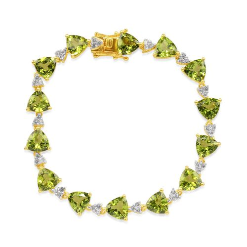 Hebei Peridot (Trl), White Topaz Bracelet in 14K Gold Overlay Sterling Silver (Size 7.75) 28.000 Ct.
