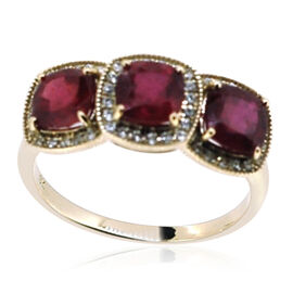 9K Y Gold African Ruby (Cush), Natural Cambodian White Zircon Ring 4.500 Ct.