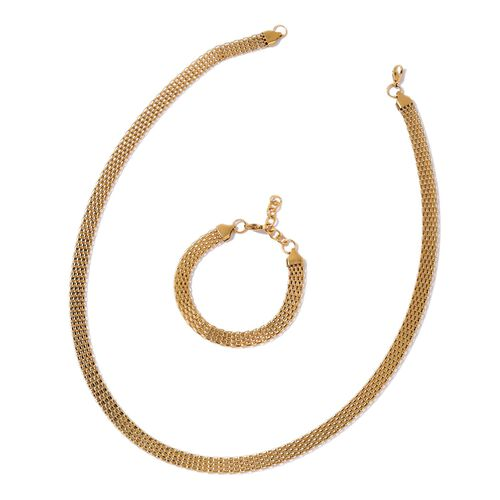Flat Mesh Chain Necklace (Size 24) and Bracelet (Size 7.5 with 1 inch Extender) in Yellow Gold Tone with Stainless Steel