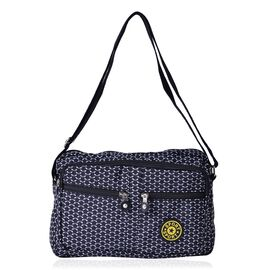 Black Dots Pattern White Colour Sports Bag With External Zipper Pocket and Adjustable Shoulder Strap (Size 27x20x6 Cm)