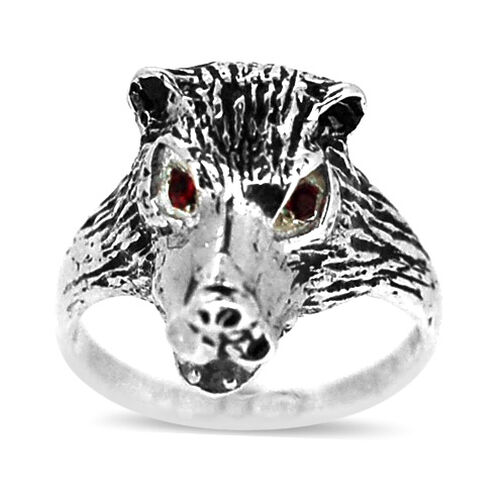 Red Austrian Crystal (Rnd) Ring in Sterling Silver