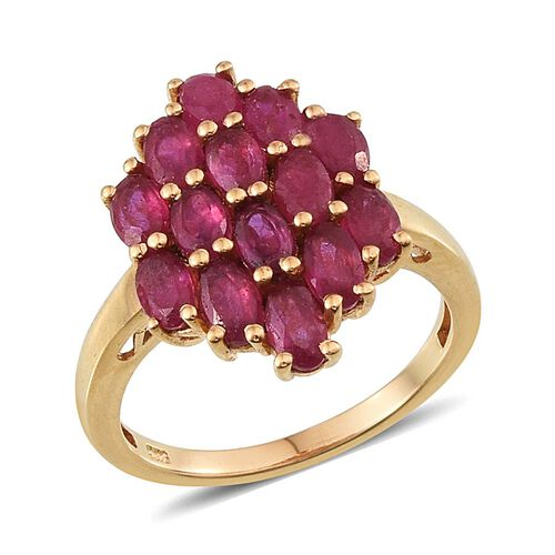 African Ruby (Ovl) Cluster Ring in 14K Gold Overlay Sterling Silver 4.250 Ct.