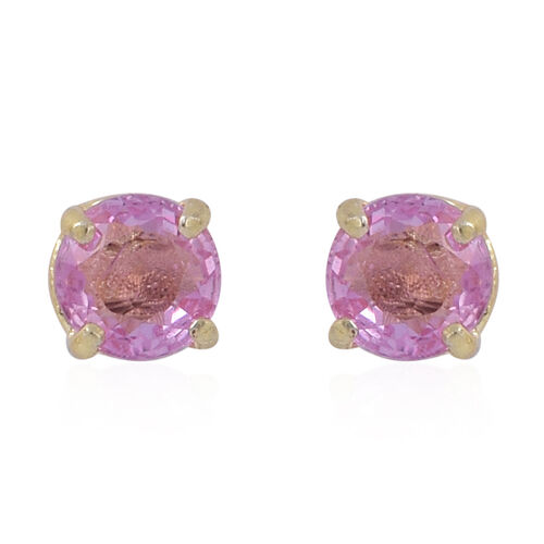 Pink Sapphire (Rnd) Stud Earrings in Yellow Gold Overlay Sterling Silver 1.000 Ct.