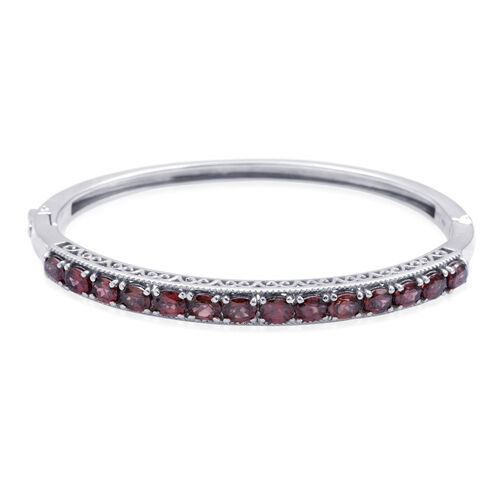 Designer Collection Umba River Zircon (Ovl) Bangle in Platinum Overlay Sterling Silver (Size 7.5) 7.000 Ct.