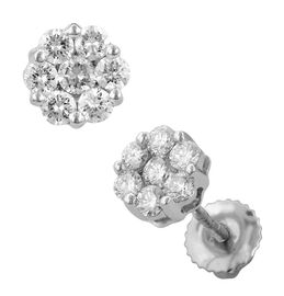 RHAPSODY 950 Platinum 1 Carat IGI Certified Diamond Floral Stud Earrings (VS/E-F) (with Screw Back)