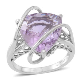 Rose De France Amethyst (Trl) Ring in Rhodium Plated Sterling Silver 10.000 Ct.