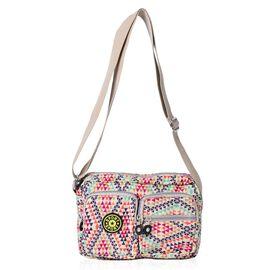 Designer Inspired Beige and Multi Colour Diamond Pattern Handbag with External Zipper Pocket and Adjustable Shoulder Strap (Size 25x18x8 Cm)