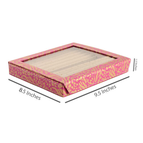 Hand Crafted - Eco Leatherette Tiger and Leopard Pattern Pink and Golden Colour Ring and Earrings Storage Box (Size 24x22x4 Cm)