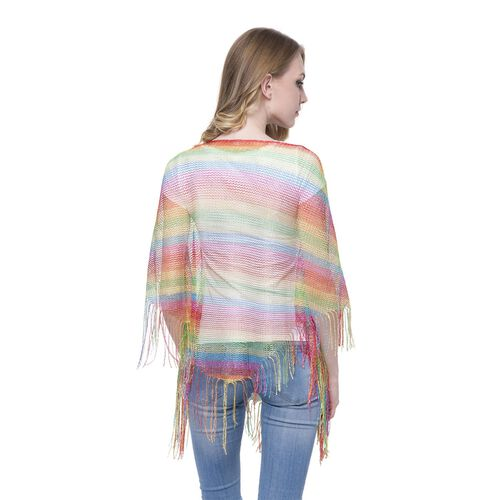 Red, Green, Yellow and Multi Colour Net Poncho (Size 150x45 Cm) and White Colour Vest (Size 60x55 Cm)