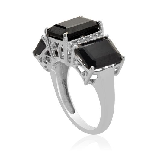 Boi Ploi Black Spinel (Oct 4.00 Ct) White Topaz Ring in Platinum Overlay Sterling Silver  9.250 Ct.
