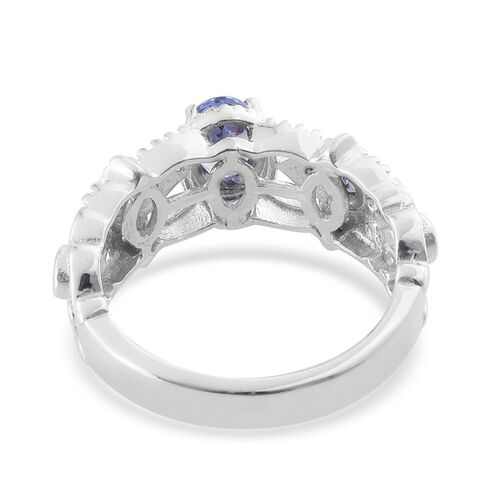 Tanzanite (Ovl 0.75 Ct) Ring in Platinum Overlay Sterling Silver 1.250 Ct.