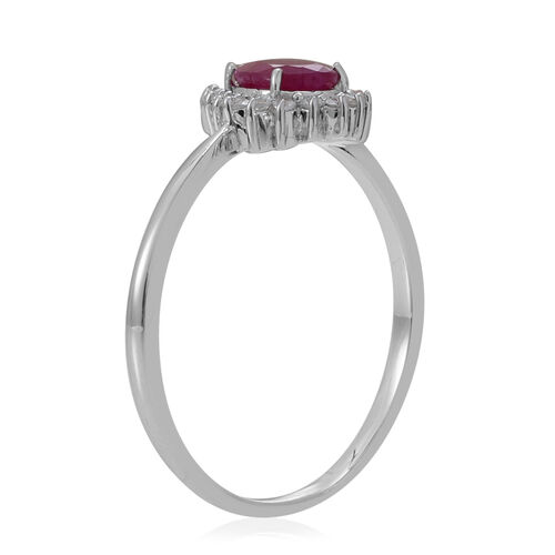 9K W Gold Burmese Ruby (Pear 0.90 Ct), White Sapphire Ring 1.000 Ct.