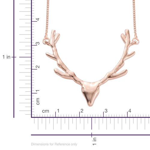 Stag Head Silver Necklace in Rose Gold Overlay (Size 18), Silver wt 4.30 Gms.