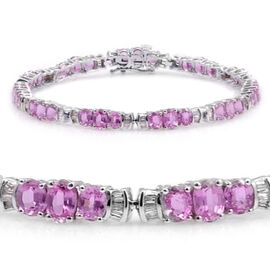 AAA Pink Sapphire (Ovl), Diamond Bracelet in Rhodium Plated Sterling Silver (Size 6.5) 12.250 Ct.