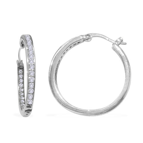 Close Out Deal AAA Simulated Diamond (Rnd) Hoop Earrings (with Clasp) in Black Tone