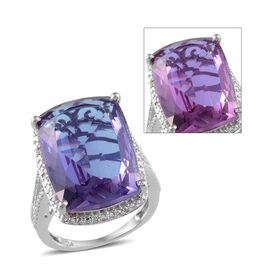 Lavender Alexite (Cush 19.50 Ct), Diamond Ring in Platinum Overlay Sterling Silver 19.550 Ct.