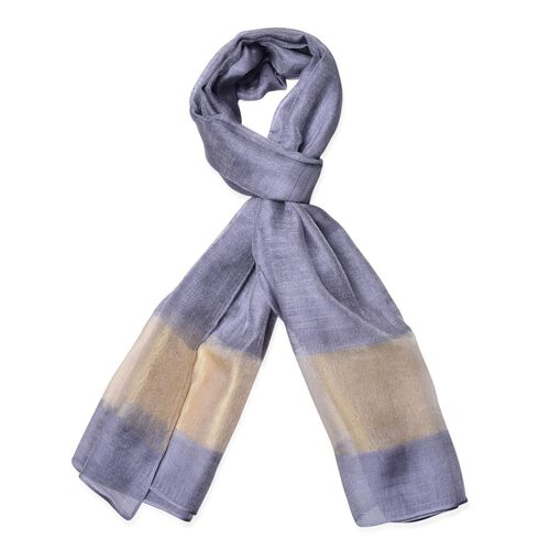 Grey and Cream Colour Scarf (Size 180x70 Cm)