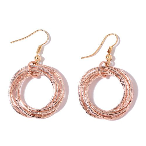 Circle Pendant with Chain (Size 28) and Hook Earrings in Yellow and Rose Gold Tone