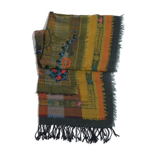 Designer Inspired 100% Merino Wool Flowers Embroidered Yellow Blue and Multi Colour Scarf (180x70 Cm)