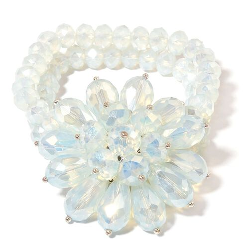 Simulated White Opal Floral Stretchable Bracelet (Size 6.5)