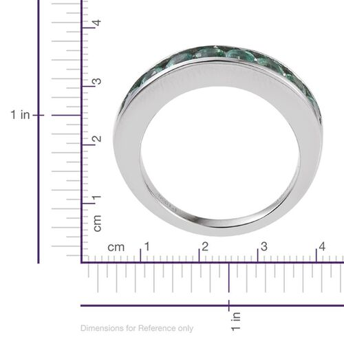 RHAPSODY 950 Platinum AAAA Boyaca Colombian Emerald (Rnd) Half Eternity Band Ring 1.000 Ct.