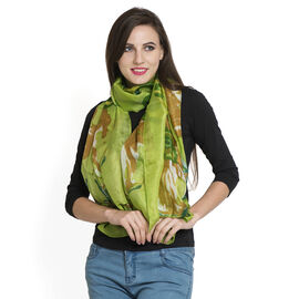 100% Mulberry Silk Green, Golden, and Multi Colour Floral Pattern Scarf (Size 180x100 Cm)