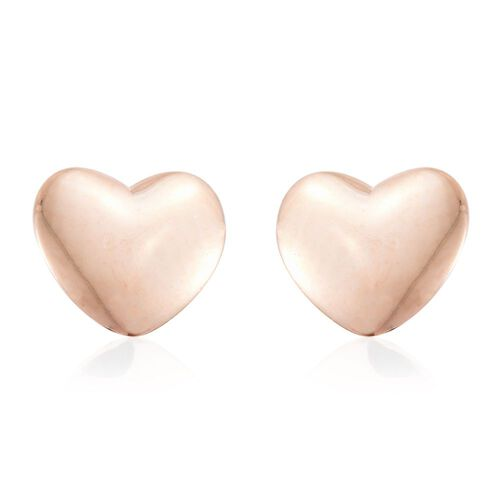 9K Rose Gold Plain Heart Stud Earrings