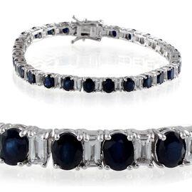 Kanchanaburi Blue Sapphire (Ovl), White Topaz Bracelet in Platinum Overlay Sterling Silver (Size 7.5) 14.000 Ct.