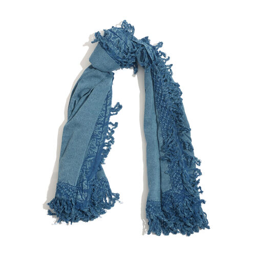 Designer Inspired Light Blue Colour Scarf with Floral Pattern Lace and Fringes at the Boundaries (Size 130x130 Cm)