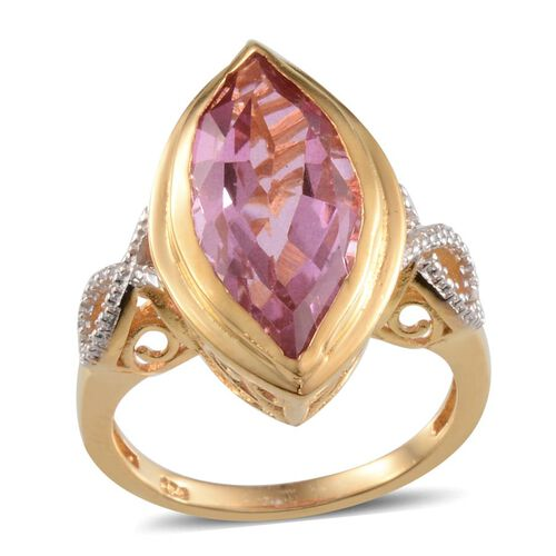 Kunzite Colour Quartz (Mrq 9.00 Ct), Diamond Ring in 14K Gold Overlay Sterling Silver 9.010 Ct.
