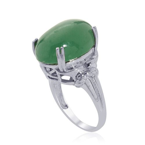 Emerald Quartz (Ovl) Solitaire Ring in Platinum Overlay Sterling Silver 13.000 Ct.