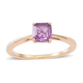 ILIANA 18K Y Gold Pink Sapphire (Asscher Cut) Solitaire Ring 1.000 Ct.