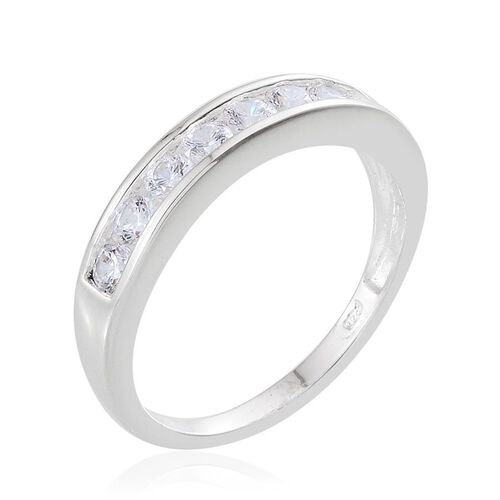 J Francis - Sterling Silver (Rnd) Half Eternity Band Ring Made with SWAROVSKI ZIRCONIA