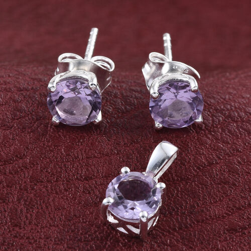 Rose De France Amethyst (Rnd) Solitaire Pendant and Stud Earrings (with Push Back) in Sterling Silver 2.250 Ct.