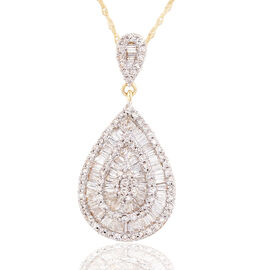 ILIANA 18K Y Gold SGL Certified Diamond (Bgt) (SI/ G-H) Teardrop Pendant With Chain 0.750 Ct.