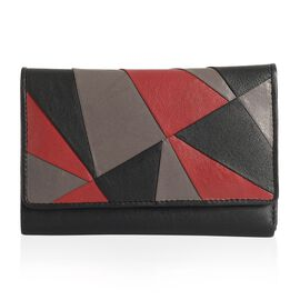 100% Genuine Leather RFID Blocker Patchwork Black, Grey and Burgundy Colour Ladies Wallet (Size 15x10x3 Cm)