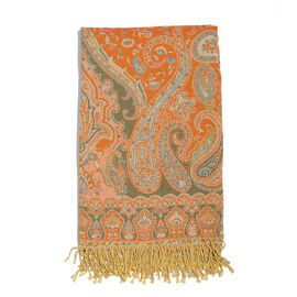 80% Cotton and 20% Wool Off White, Orange and Multi Colour Jacquard Throw with Tassels (Size 180X140 Cm)
