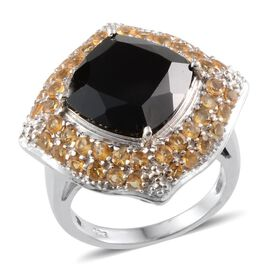Boi Ploi Black Spinel (Cush 10.50 Ct), Citrine Ring in Platinum Overlay Sterling Silver 12.250 Ct.