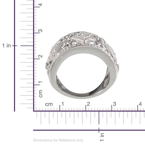 Diamond (Rnd) Ring in Platinum Overlay Sterling Silver 0.320 Ct.