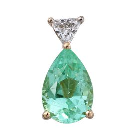 ILIANA 18K Yellow Gold 1.15 Carat Boyaca Colombian Emerald Pear Solitaire Pendant with Diamond SI G-H.